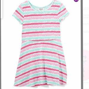 Pink white & mint stripe & black dots Skater Dress